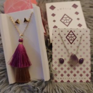 2 necklace and earrings sets